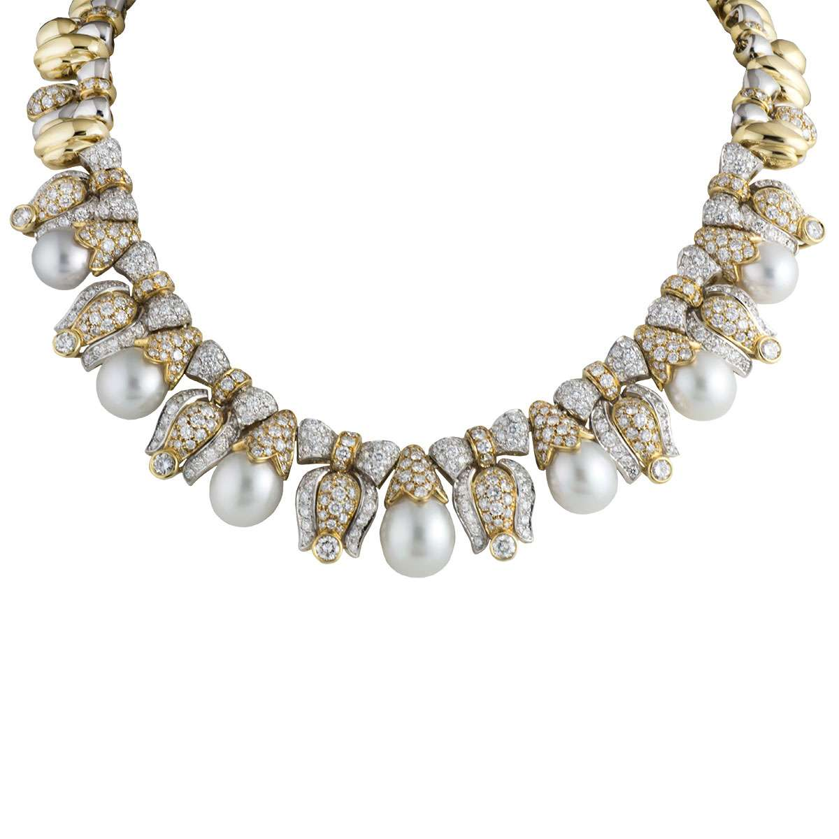 White and Yellow Gold Diamond Necklace 14.54ct